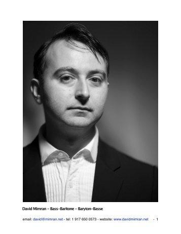 David Mimran - Bass-Baritone - Baryton-Basse - 100-word bio