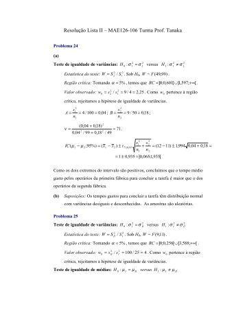 Resolução Lista II – MAE126-106 Turma Prof. Tanaka - feferraz.net