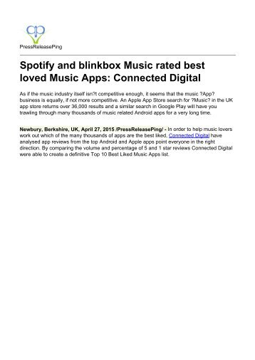 Spotify and blinkbox Music rated best loved Music Apps: Connected Digital