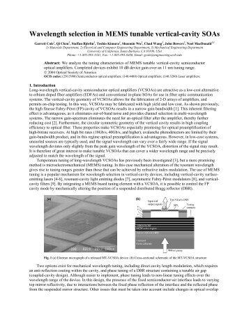 Wavelength selection in MEMS tunable vertical-cavity SOAs