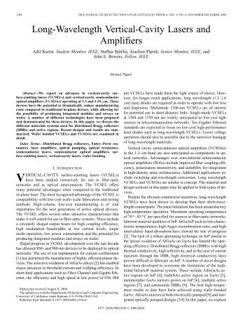 Long-Wavelength Vertical-Cavity Lasers and Amplifiers