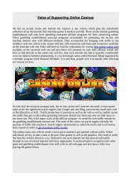 Value of Supporting Online Casinos