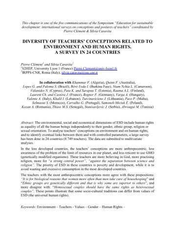 Diversity of teachers' conceptions related to environment ... - ESERA