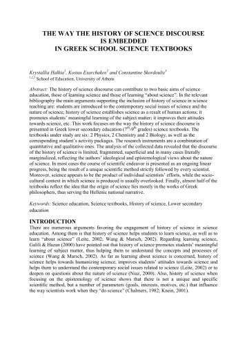 the way the history of science discourse is embedded in ... - ESERA