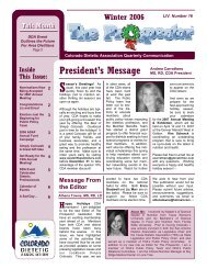 Winter 2006-2007 Newsletter - Colorado Dietetic Association