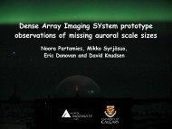 Dense Array Imaging SYstem prototype observations of missing ...