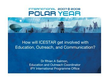 How will ICESTAR get involved with Education, Outreach, and ... - FMI