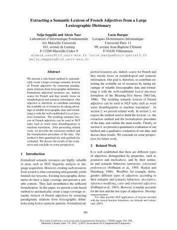 Extracting a Semantic Lexicon of French Adjectives from a Large ...