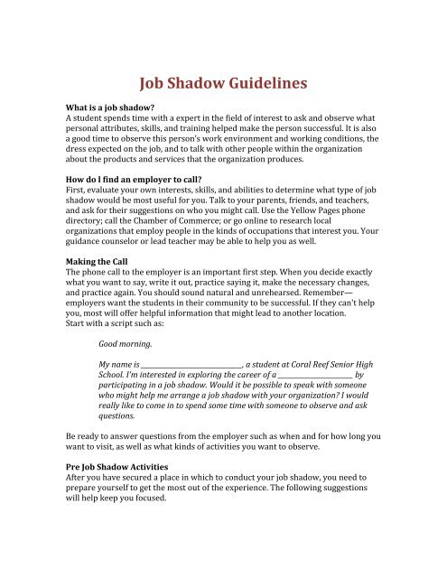 questions to ask at a job shadow