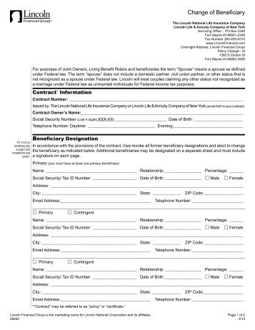 Lincoln Financial Beneficiary Form - Rivier University