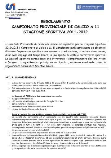 Regolamento Campionato di calcio a 11 - CSI