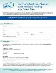 Mailing List Order Form - The American Academy of Dental Sleep ...