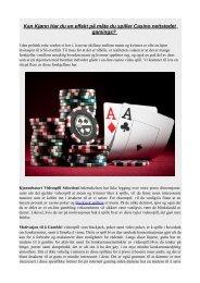 Kan Kjønn Har du en effekt på måte du spiller Casino nettstedet gamings?