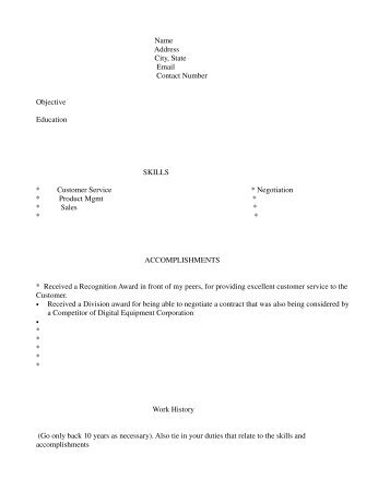 "Sample organization of resume with ""assessment"" format - The DEC ..."