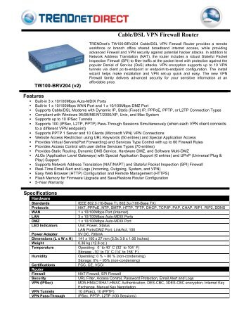 Cable/DSL VPN Firewall Router