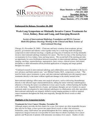 Week-Long Symposium on Minimally Invasive Cancer Treatments ...