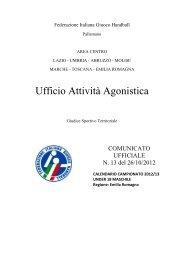 Comunicato n. 13 - Federazione Italiana Giuoco Handball