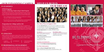 Building the Dream brochure - Sacred Heart Academy