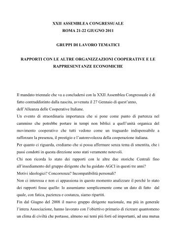 Documento del Gruppo di lavoro su - Associazione Generale ...