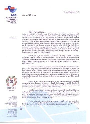 Visualizza La lettera del Presidente AGCI, Rosario Altieri
