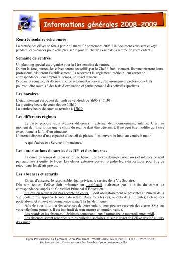 Informations générales 2008-2009