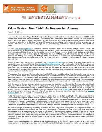 Zaki Hasan: Zaki's Review: The Hobbit: An Unexpected ... - Ensign