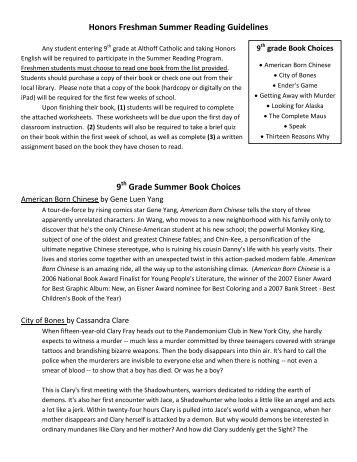 Honors Freshman Summer Reading Guidelines - Althoff Catholic ...