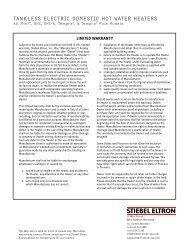 DHC Tankless Electric Water Heater Warranty ... - Stiebel Eltron