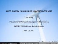 Wind Energy Policies and Economic Analysis - Iowa State University