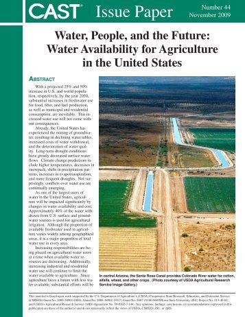 Water Availability for Agriculture in the United States - Climate ...