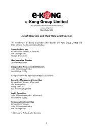 List of Directors and their Role and Function - e-KONG Group Limited