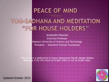 peace of mind through yoga and meditation - Shamsher Prakash ...