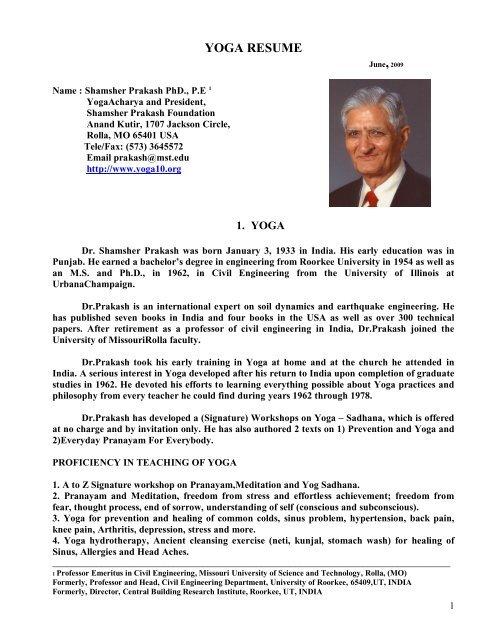 Yoga Resume Shamsher Prakash Foundation