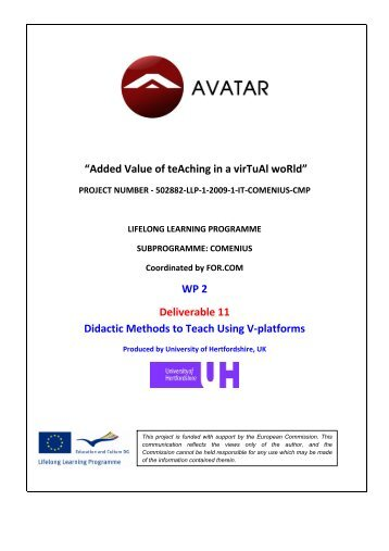 WP 2 Deliverable 11 Didactic Methods to Teach Using V ... - avatar