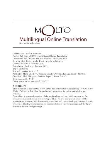 Multilingual Online Translation - Molto