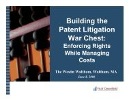 Building the Patent Litigation War Chest: - Wolf, Greenfield & Sacks ...