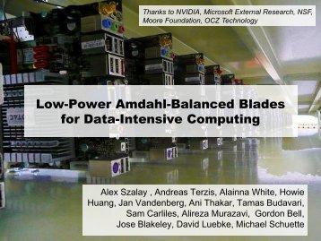 Low-Power Amdahl-Balanced Blades for Data-Intensive Computing