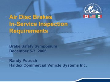 Disc Brake Inspections - Commercial Vehicle Safety Alliance