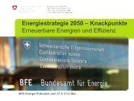 Energiestrategie 2050 – Knackpunkte - Bundesamt für Energie BFE