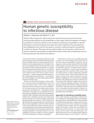 Human genetic susceptibility to infectious disease
