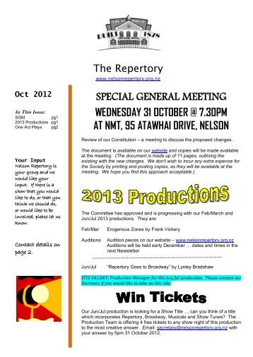 October 2012 - Nelson Repertory Theatre