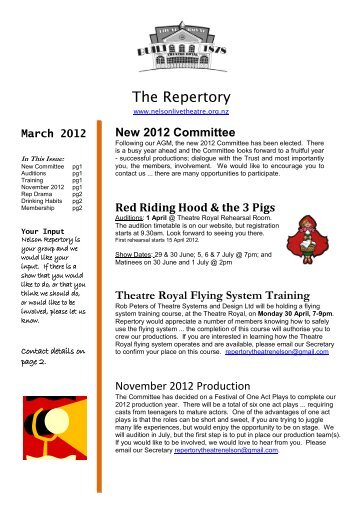 March 2012 - Nelson Repertory Theatre