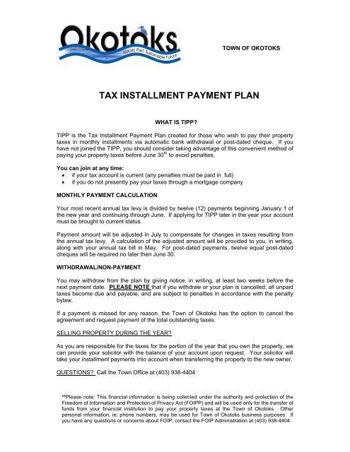 TAX INSTALLMENT PAYMENT PLAN - Town of Okotoks