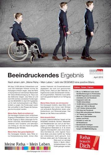 """Meine Reha - Mein Leben."" Kampagnen-Bilanz DEGEMED April 2015"