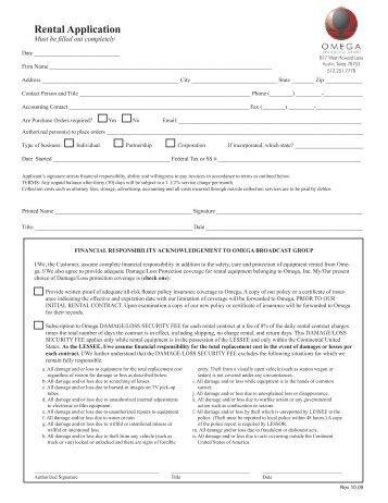Rental Application - Omega Broadcast Group