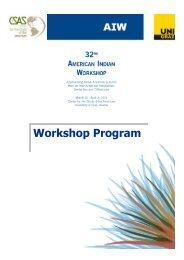 Workshop Program - American Indian Workshop