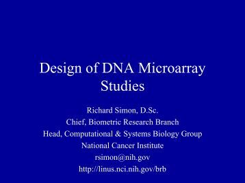 Design of Experiments Using DNA Microarrays - Biometric Research ...