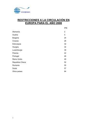 restricciones a la circulación en europa para el año 2008 - Intergesaco