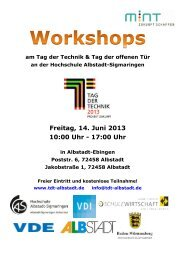 Workshops - Tag der Technik 2013
