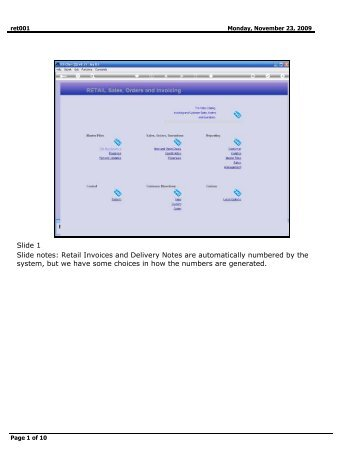 Slide 1 Slide notes: Retail Invoices and Delivery Notes are ... - Infolab